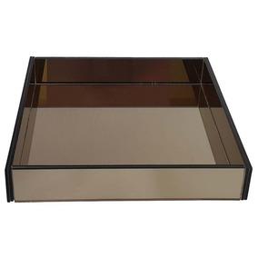 Porta Bolo Pra Festas Buffet Vidro Bronze Espelhado 40x40 Cm