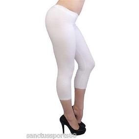 Capri Pantalones Stretch Blanco Spandex Ajustado Legging...