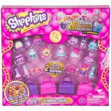 Shopkins Set 20 Figuras Con Brillo + 4 Carteras Glamour Edu