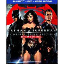 Bluray + Dvd Batman Vs Superman Origen De La Justicia ( 2016