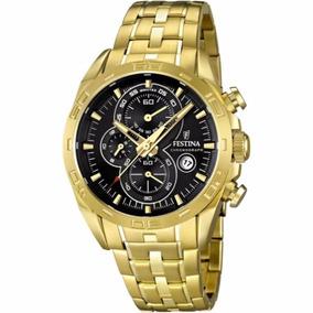 Relógio Festina Chronograph Dourado F16656-5 Garantia 2 Anos