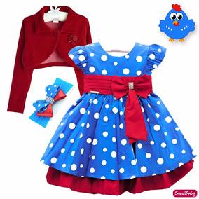 Vestido Infantil Galinha Pintadinha Bolero E Faixa Original