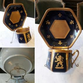 Tazas Y Platos De Te Porcelana Limoges Azul Cobalto Y Oro