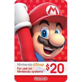 Cartão Nintendo Usa 3ds Wii-u Switch Eshop Card $20 Dólares