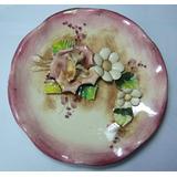 Plato Decorativo Ceramica Con Flores Relieve Retro Vin Pared