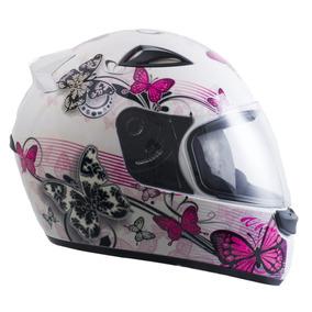 Capacete Moto 56 Feminino Ebf New Spark Borboletas Branco