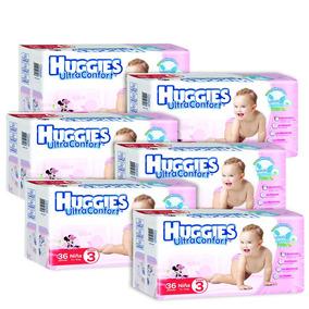 Caja De Huggies Ultraconfort E3 Niña 6 Paquetes - 216 P...