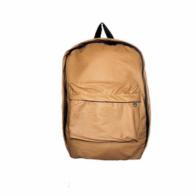 Morral Bolso Mochila Backpack Semi Cuero Marron
