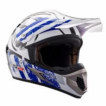 Casco Ls2 Mx 433 Cross Stripe Azul Motocross Enduro Atv Fas.