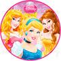 Princesas Papel Arroz Redondo 20 Cm Bolo