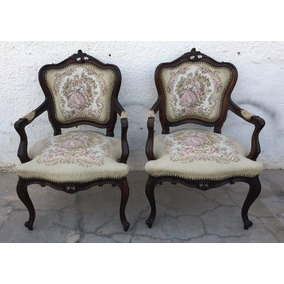 Espetacular Par De Cadeira Luis Xv Gobelin Antiga