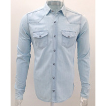 Camisa Jeans Premium Masculina Slim Fit Fashion Offert