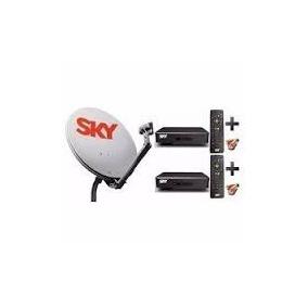 Kit Antena Sky Pre Pago 2 Aparelho, Com Brinde
