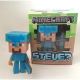 Muñeco Steve C/ Espada Minecraft 15 Cm C/luz En La Cabeza