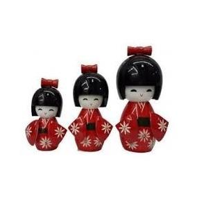 Bonecas Kokeshi Japonesas De Madeira Trio Várias Cores Impor