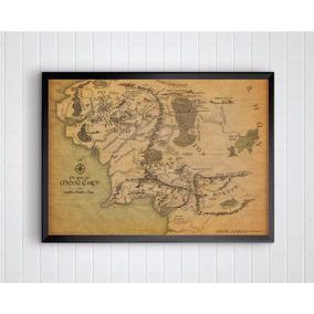 Poster Com Moldura E Tamanho A3 Do Mapa Da Terra Média