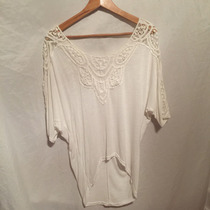 Blusa Remeron Remera Blanco Con Crochet