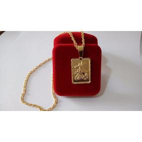 Corrente Grossa + Medalha De São Jorge Q Banhado A Ouro 18k