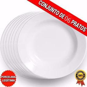 Conjunto De 05 Pratos De Porcelana- Prato Fundo Restaurante