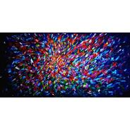 Cuadro Cazart Original Abstracto Azul Pintado A Mano