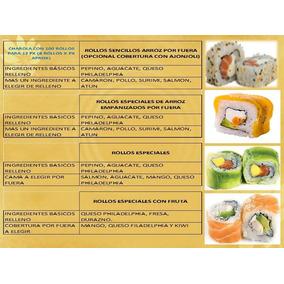 Barras Para Eventos Y Charola Con 100 Rollos De Sushi
