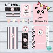 Ki Imprimible Panda Rosa Cumpleaños Candy Bar