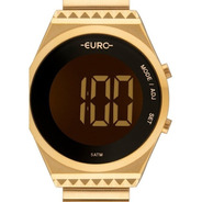 Relógio Feminino Dourado Digital Euro Fashion Fit Slim Eubjt016aa/4d Original Sabrina Sato