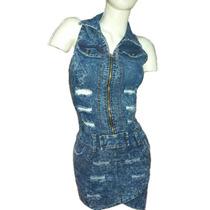 Vestido Enterito Jeans Elastizado Entallado Ajustado Mujer