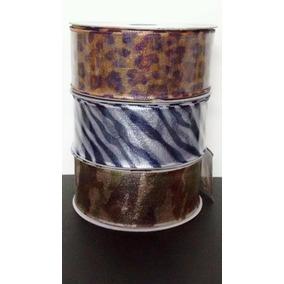 Fita Organza Onça Zebra Camurflagem 38mm Aquarela Barato