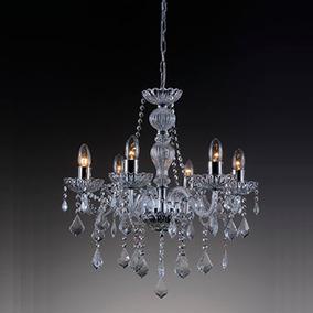 Lustre Candelabro 6 Braços Cristal K9 60cm Maria Thereza