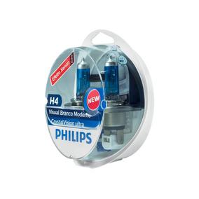 Lâmpada Philips Super Branca Crystal Vision Ultra H4 + Pingo