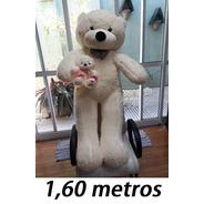 Presente Urso Gigante De Pelúcia Creme 160cm + Ursinho 25 Cm