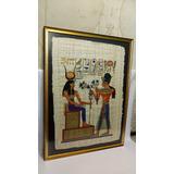 Cuadro De Papiro Antiguo Egipcio Pareja Marco Italiano