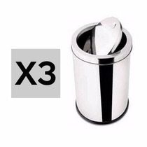 Kit 3 Lixeira De Inox Wincy Basculante 5 Litros