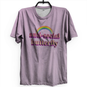 Kit 3 Camisetas Anti Social Butterfly Sad Girls David Bowie