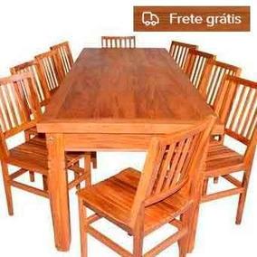 Mesa De Jantar Madeira Demolição 2,5m + 10 Cadeiras Cambory