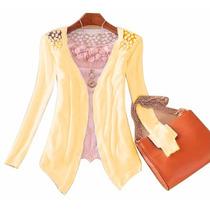 Blusa Feminina Casaquinho De Lã Trico Tricot Cardigan Sueter
