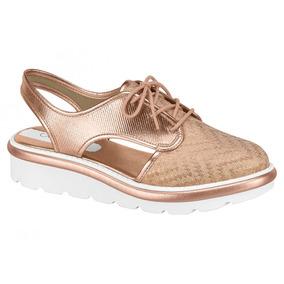 Sapato Feminino Oxford Beira Rio Salto Dourado 4799-102