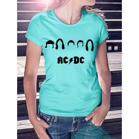 Camiseta Roupas Femininas Azul Ac Dc Banda De Rock