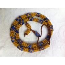 Colar Africano Antigo Vidros Artesanais. Comprimento 66cm