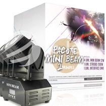 Kit 4 Mini Beam Moving Head Led 12w Cree Rgbw + Mesa Dmx