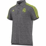 Camiseta Tipo Polo Real Madrid Gris Adidas