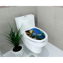 Adesivo Tampa Vaso Sanitário Decorativo Oceano Privada Wc