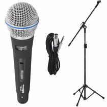 Microfone Profissional Sc-815 + Pedestal Com Cachimbo + Cabo