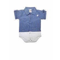 Body Para Bebê Com Camisa Xadrez Embutida Azul 100% Algodão
