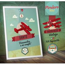 Kit Imprimible Avión Rojo Vintage- Aviones - Aviador