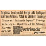 Diario Resistencia Popular - 3 De Enero De 1956 Juan Peron
