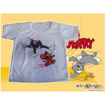 Remera Tom Y Jerry Pintada A Mano!! Talles 2 Al 16