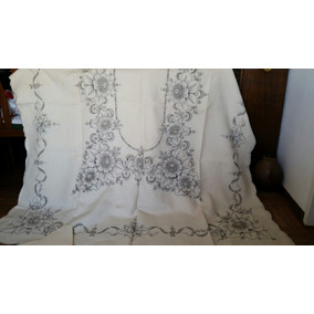 Antiguo Mantel De Hilo Bordado Y Calado