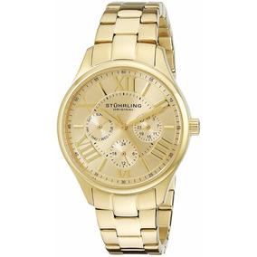 Elegante Reloj Stuhrling Original Dama Modelo 391l.03 Dorado